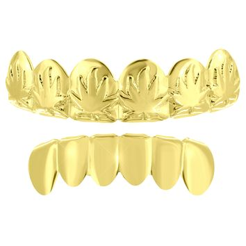 14k Gold Plate Top Bottom Grillz Mens Marijuana Weed Leaf  Tooth Caps Grills