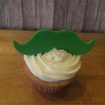 St Patricks Day Green Moustaches! Set of 12 (one dozen)