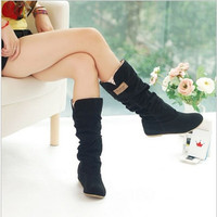 290 Spring Autumn casual shoes princess sweet women boots New 2015 stylish flat flock shoes fashion Mid-calf boots Big Size = 1946372036