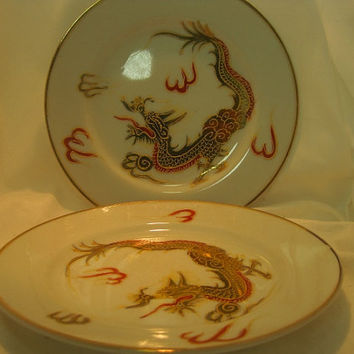 Betson's Dragonware Bread Plates Set of 2 Gold Trim Red Dragons