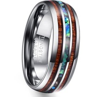 Tungsten Ring With Abalone Shell And Koa Wood