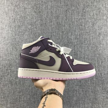 Air Jordan 1 Retro High OG White Purple Pink GS Sneakers - Best Deal Online