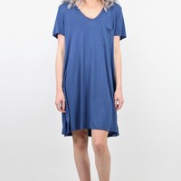 Basic Modal V-neck T-shirt Dress {Blue} EXTENDED SIZES