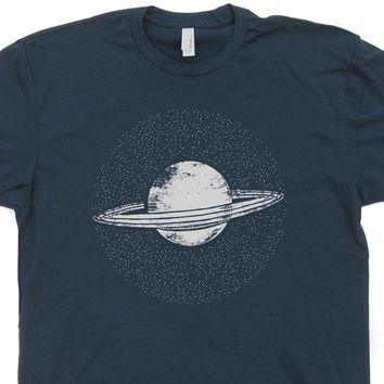 Planet Saturn T Shirt Solar System Shirt Geek T Shirts Science Fiction Vintage Nasa Shirt
