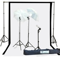 Fancierstudio 1000watt Lighting Kit Black White Muslin Backdrop and background stand kit By Fancierstudio K105BW
