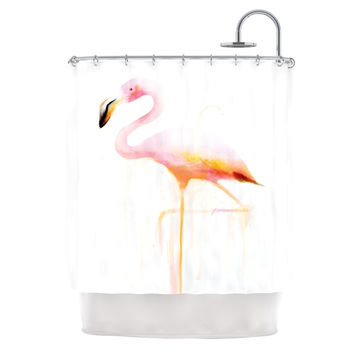 "Geordanna Cordero-Fields ""My Flamingo"" Pink White Shower Curtain"