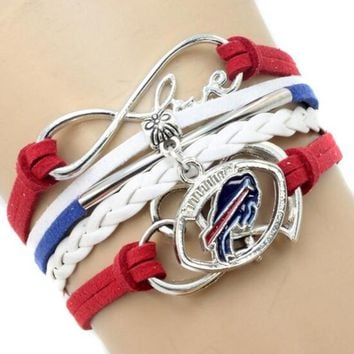 Infinity Love Buffalo Bills Multi-Strand Bracelet Football Team Charm Bracelets & Bangles Sport Women Men Jewelry 6PCS