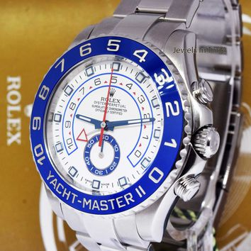 Rolex Yacht-Master II Steel Blue Ceramic Bezel Mens Watch Box/Papers 116680
