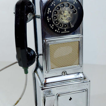 Vintage Rotary Payphone, Authentic GE Pay Phone, Solid Metal Automatic Electric Company Phone