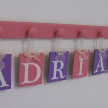 Baby Girls Room Purple and Pink ADRIANA Baby Letters on Wall Set Includes 7 Wooden Pegs Pink Nursery Wall Decor