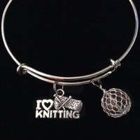 I Love Knitting Silver Charm Bracelet Expandable Adjustable Wire Bangle Trendy Knitted Ball of Yarn Amber Stacking Gift
