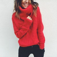 Casual Warm Sweaters Women Long Sleeve Knitted Jumpers Pullovers Women's Jumper Turtleneck Christmas Red Sweater Female Jumper