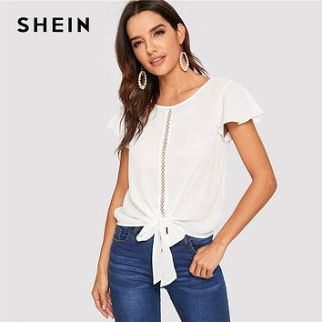 SHEIN Flutter Sleeve Lace Insert Knot Front Women Tops And Blouses
