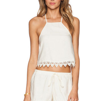 Cross Back Spaghetti Strap Lace Trim Crop Top and Shorts