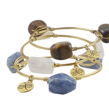 Crystal Wire Bangles Set of Three Blue Agate Rose Quartz Tiger Eye