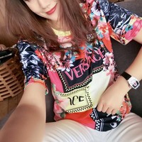 """Versace""Women Casual Fashion Multicolor Letter Flower Pattern Short Sleeve T-shirt Top Tee"