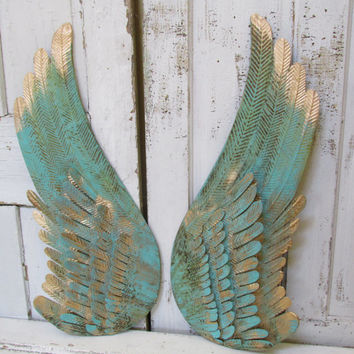 Superior Turquoise Metal Angel Wings Wall Decor Rusted Accented Gold Home Hanging  Decoration An