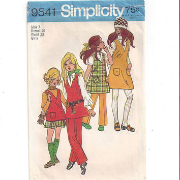 Simplicity 9541 Pattern for Girls' Jumper, Tunic, Skirt, Pants, Size 7, From 1971, UNCUT Pattern, Vintage Pattern, Home Sewing Pattern