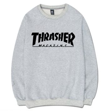 Thrasher Magazine Flame Gray Round Neck Pullover Sweatershirt