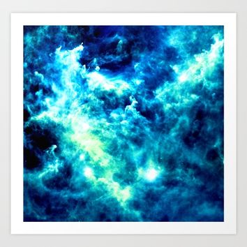 stormy nebula clouds turquoise blue Art Print by GalaxyDreams