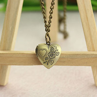 love heart necklace--Photo Frame pendant,antique bronze charm necklace,alloy chain