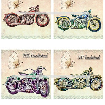Harley Knucklehead Motorcycles Altered Art - Coasters Artwork, 4.0 inch Squares, Arts and Craft Projects