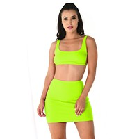 Young And Restless Neon Sleeveless Scoop Neck Backless Crop Top Bodycon Mini Two Piece Dress