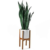 """FOX & FERN Mid-Century Modern Plant Stand - Adjustable Width 9"""" up to 13"""" - Bamboo - EXCLUDING White Ceramic Planter Pot"""