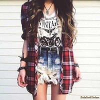 Mystery Vintage T-Shirt & Flannel Hipster Shirt- Pick Your Size