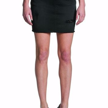 EM7353 Black high waist studded skirt with fray
