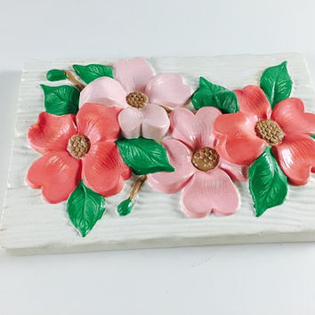 Vintage Flower Wall Plaque Byron Mold Retro Pink Green Mod Wall Hanging 1970's Home Kitchen Decor