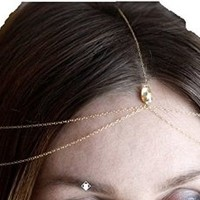 Women's Fashion Head Chain Gem Hairband Tassels Headband