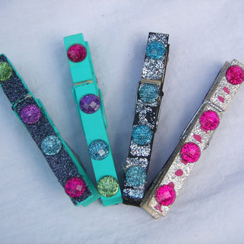 Multi-Colored Jeweled Clothespin Magnet Set (3.5 inch)
