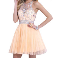 Luxury Orange Pink Knee Length Beaded Crystal Short Homecoming Dresses 2016 Zipper Up Back Party Dress vestido de festa curto