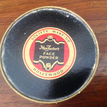 1920's Max Factor Hollywood Society makeup powder. Rachelle Rose Vintage packaging powder compact