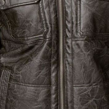 Guess NEW Black Mens Size 2XL Hooded Faux-Leather Motorcycle Jacket