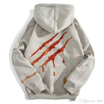 kanye west Scratch and claw sleeve hoodie men women fashion sweater yeezus hoodie Free delivery