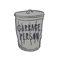 Garbage Person Enamel Pin in Grey Trash Bin