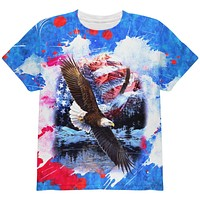 4th of July American Flag Bald Eagle Splatter All Over Youth T Shirt