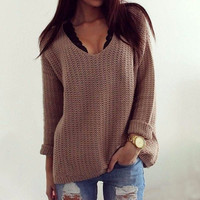 Brown Long-Sleeve Knitted Sweater