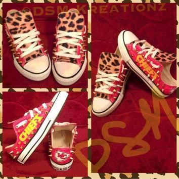 custom kansas city chief converse all star chuck taylors leopard edition