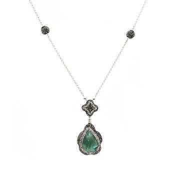 Green Opal Teardrop Necklace