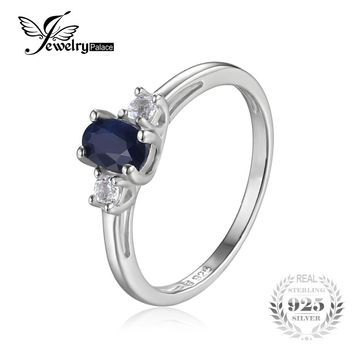JewelryPalace Three Stone 0.7ct Genuine Oval Sapphire Round White Topaz Anniversary Engagement Ring 925 Sterling Silver Jewelry