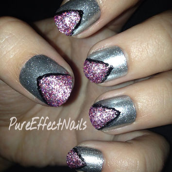 Pink Glitter Triangles