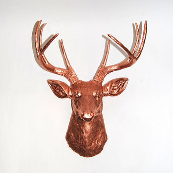 White Faux Taxidermy - Faux Deer Mount - The Montgomery - Rose Gold Copper Resin Deer Head- Stag Resin Rose Gold Faux Taxidermy