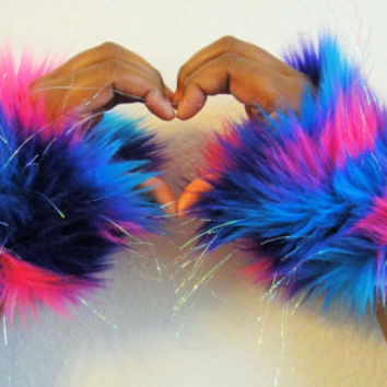 Sparkle Glitter Neon Rave Wrist Cuffs UV Reactive Pink Blue Purple Fluffy Furry