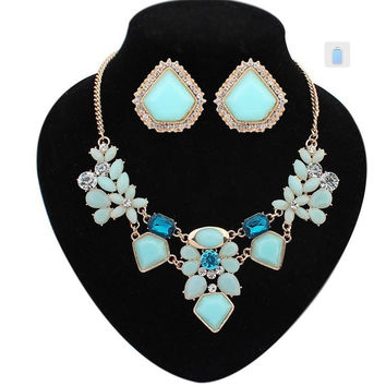 New fashion statement fine jewelry sets Colorful flower design Sweet crystal necklace set for women wedding set