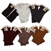 Ismell Women Lace Trim Boot Cuffs Toppers Leg Warmers Sock