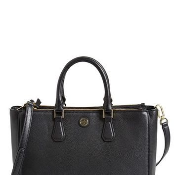 Tory Burch 'Robinson' Pebbled Leather Double Zip Tote - Black