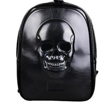 PU Leather Backpack Black Skull Rivet Computer Bags Large Capacity Notebook Backpack